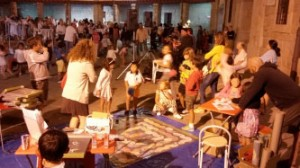 "Children match of Goose game ""From R to R"" with carpet in Guadarrama Night Market"""
